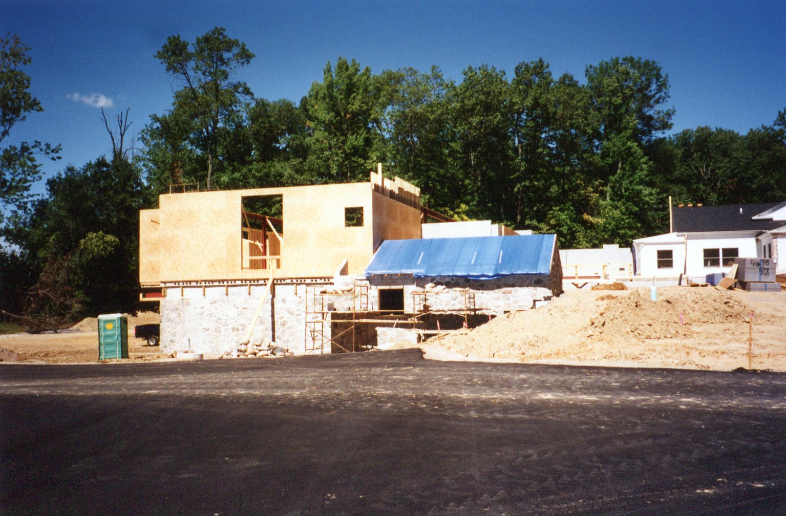 the library building under construction