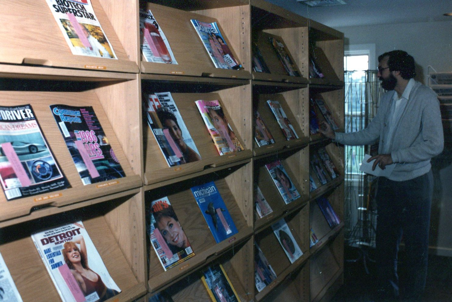 a man browsing magazines